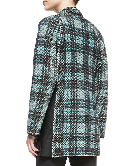 Long Leather-Trim Tweed Cardigan