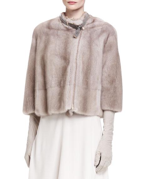 Bracelet-Sleeve Mink Fur Jacket