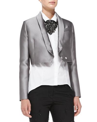 Cropped Duchess Satin Jacket