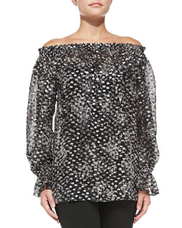 Michael Kors  Off-The-Shoulder Chiffon Top