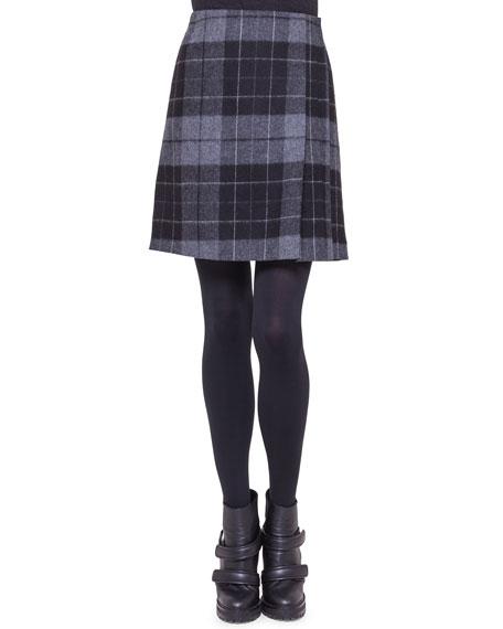 Akris punto Pleat-Detail Check Skirt