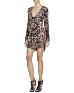 Emilio Pucci Long-Sleeve Beaded Southwestern-Print Dress