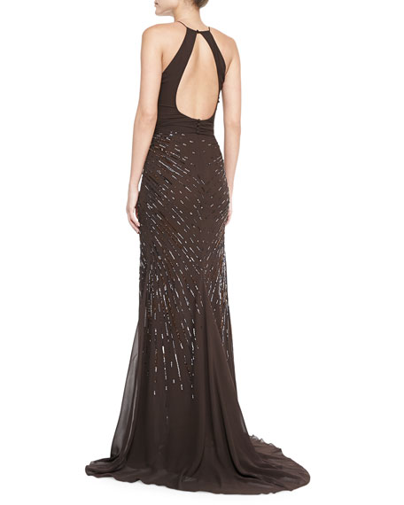 Starburst Beaded Gown with Keyhole