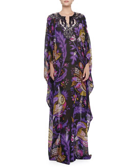Roberto Cavalli Long-Sleeve Caftan with Embellished Neckline