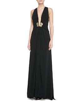 Roberto Cavalli Plunging X-Back Ornament Gown