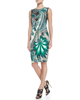 Roberto Cavalli Sleeveless Back-Zip Printed Sheath Dress