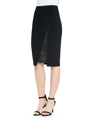 Roland Mouret Asymmetric Insert-Detail Pencil Skirt