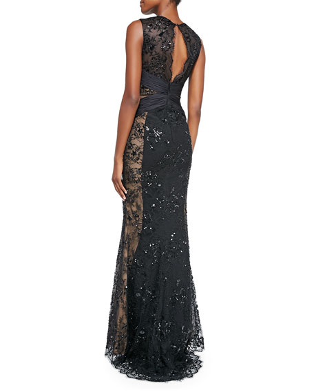 Scalloped-Lace Cross-Front Gown, Black