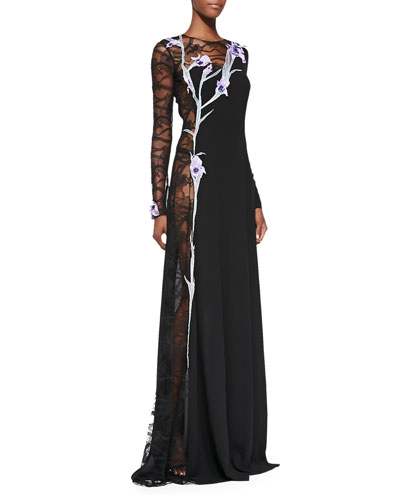 Nina Ricci Iris Embroidered Lace-Panel Gown