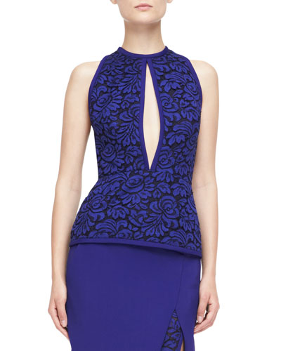 J. Mendel Halter Top with Lace Embroidery, Imperial Blue