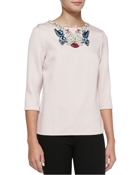 Mary Katrantzou Embroidered-Neck Blouse, Pink