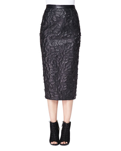 Burberry London Leather Laser-Cut Pencil Skirt