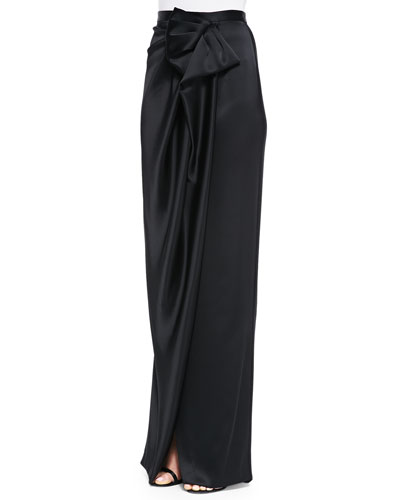 Liquid Satin Draped Asymmetric-Bow Skirt, Caviar