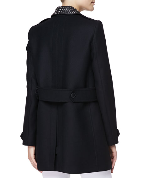 Burberry Brit Studded-Collar Wool Coat with Zip Pockets