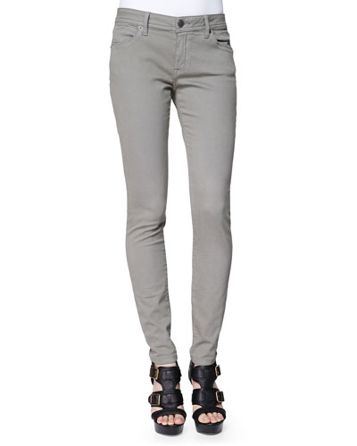 Low-Rise Skinny Jeans, Slate Green