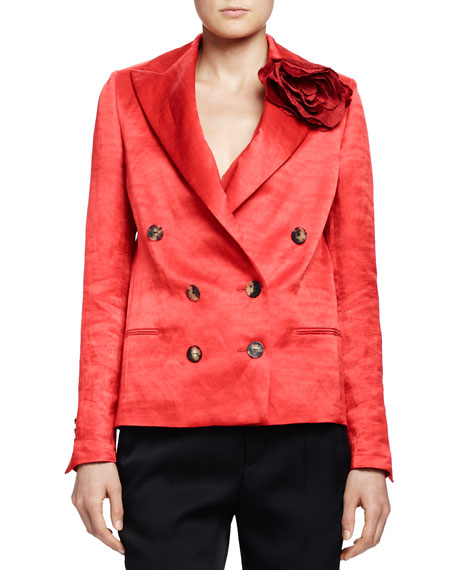 Lanvin Silk Jacket with Rosette, Poppy Red