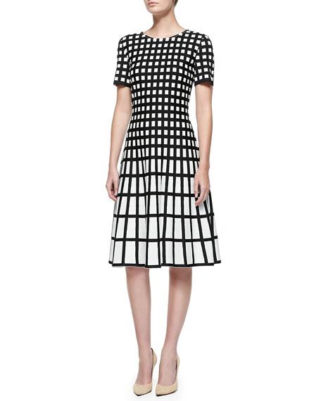 Tubular Box Knit Jewel Neck Dress
