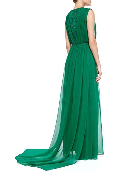Silk Chiffon Gown with Rosette Lace, Tourmaline