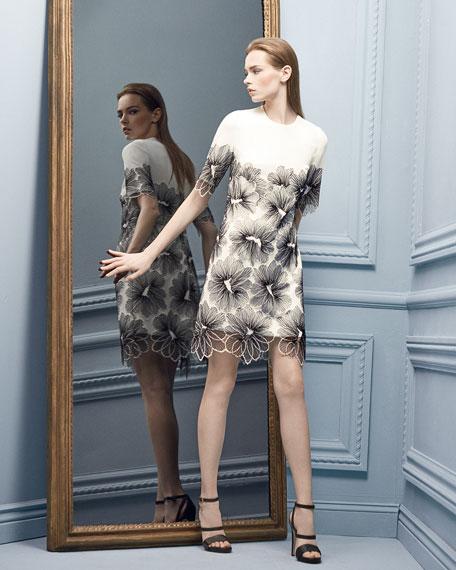 Lela Rose Lace-Applique Tunic Dress