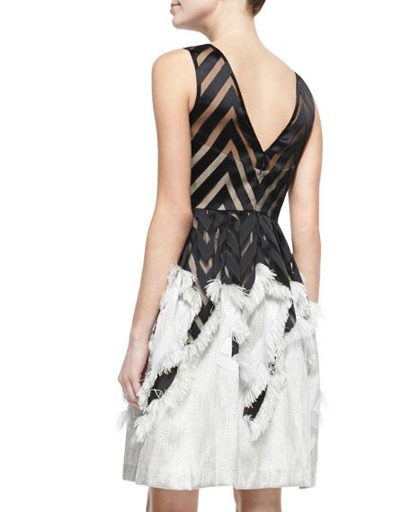 Sleeveless Dress with Fringed Skirt