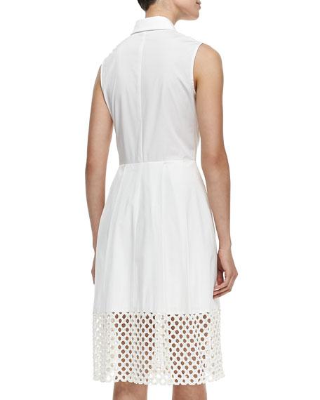 Lela Rose Lace-Hem Stretch-Cotton Shirtdress