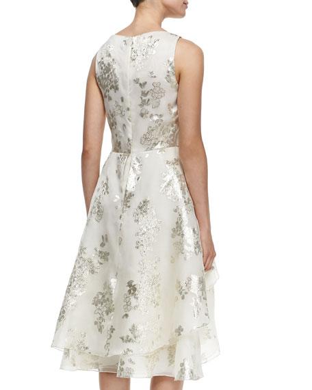 Lela Rose V-Neck Tiered Metallic Floral Dress