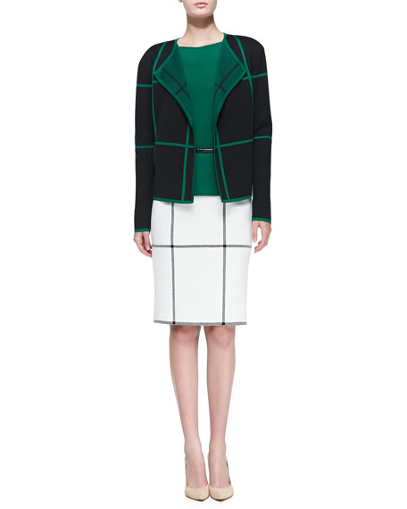 Milano Plaid Knit Side-Zip Pencil Skirt, Cream/Caviar