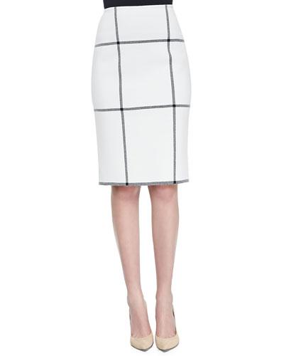 Milano Plaid Knit Side-Zip Pencil Skirt, Cream/Caviar