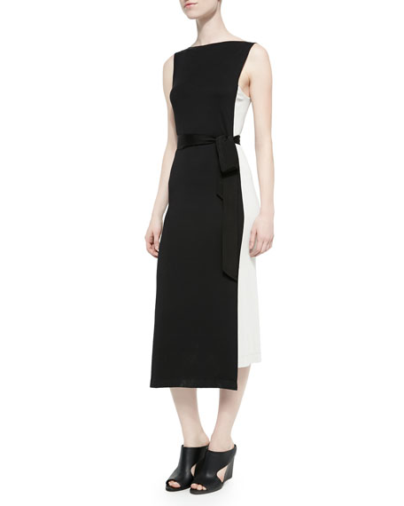 Donna Karan Sleeveless Uneven-Hem Sheath Dress