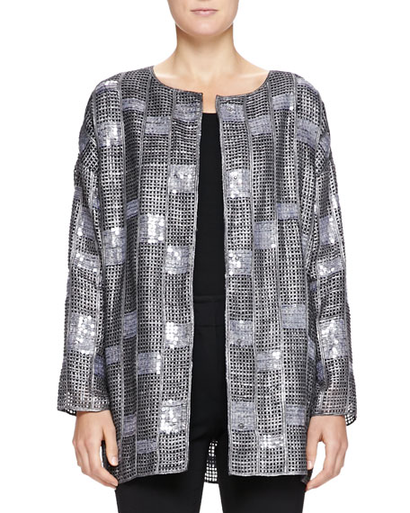Armani Collezioni Sequined Mesh & Suede Jacket