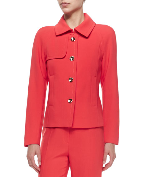 Escada Long-Sleeve Cropped Four-Button Blazer