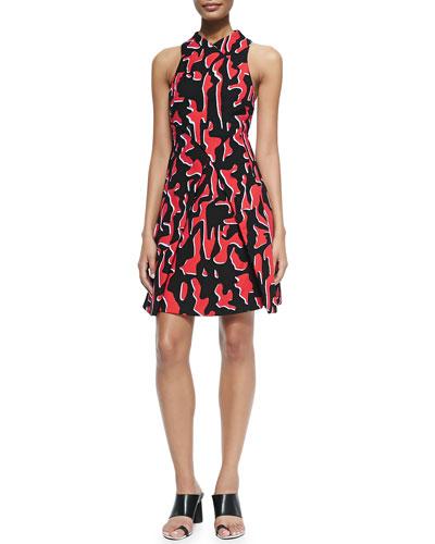 Sleeveless Shadow-Print A-Line Dress