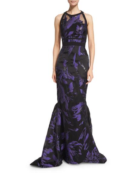 J. Mendel Floral Halter-Neck Mermaid Gown