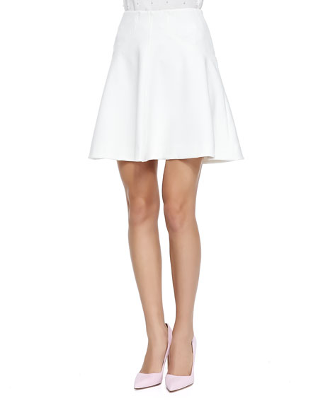Lela Rose Silk-Trim A-Line Skirt, Ivory