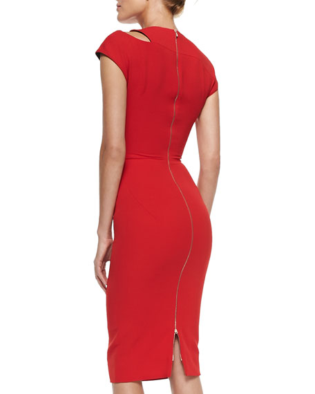 Cap-Sleeve Sheath Dress with Cutout Shoulder