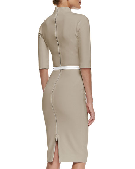 3/4-Sleeve Belted Sheath Dress