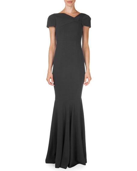 Roland Mouret Otley Short-Sleeve Asymmetric V-Neck Gown