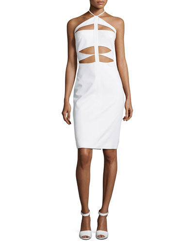 Cutout-Bodice Halter Dress