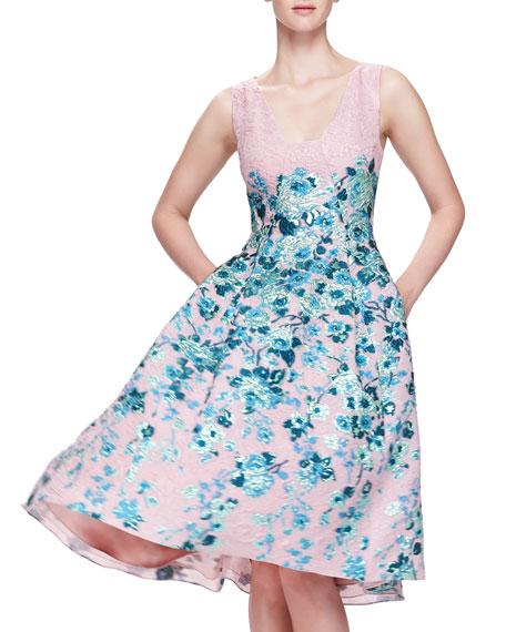 Floral-Jacquard A-Line Dress