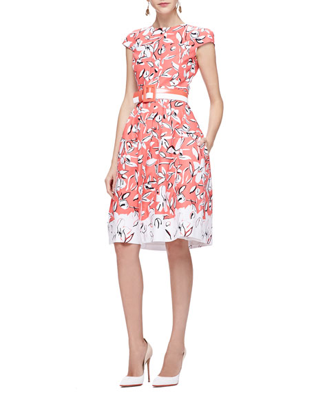 Oscar de la Renta Cap-Sleeve Flower Dress with