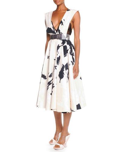 Splatter-Brush Belted Dress