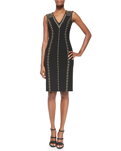 Linear Golden-Studded Dress, Black