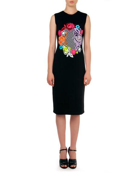 Christopher Kane Sleeveless Floral Motif-Print Dress, Black