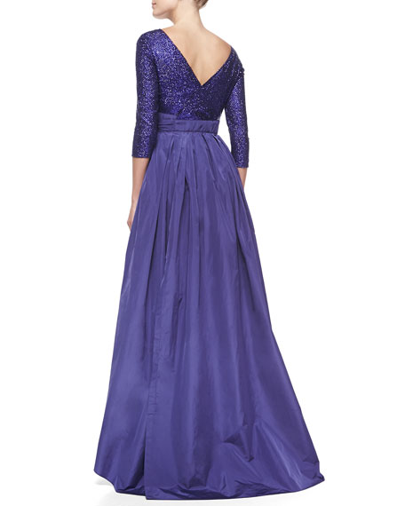 Escada Sequined Bow-Detailed Full-Skirt Gown, Crocus