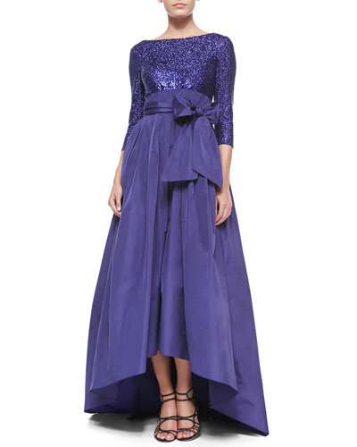 Sequined Bow-Detailed Full-Skirt Gown, Crocus