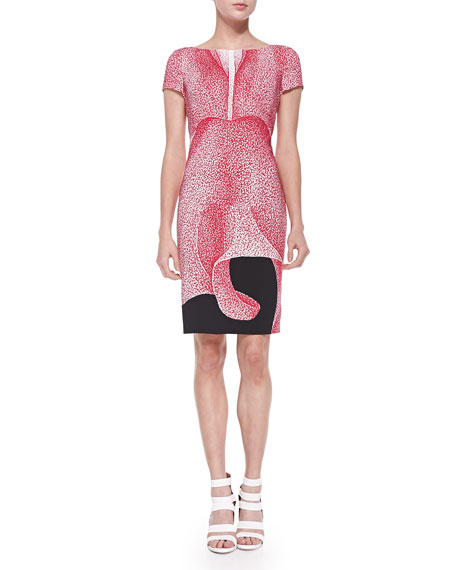 EscadaThilo Westermann Short-Sleeve Petal-Print Dress, Orchid