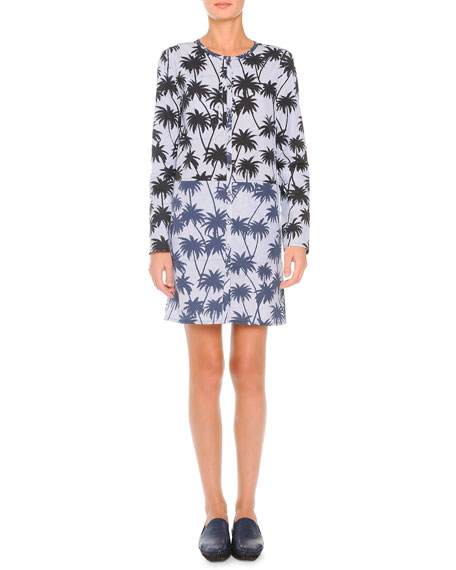 Tomas Maier Striated Palm-Print Shirtdress, White/Blue/Black