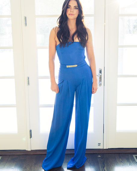 Breena Strapless Crepe Jumpsuit, Hydro Blue