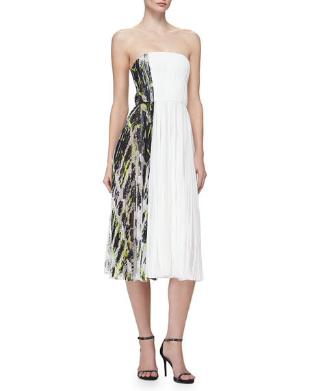 J. Mendel Strapless Contrast-Side Pleated Dress, Ivory/Black/Green