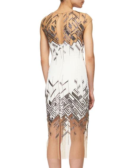 Chevron-Beaded Tulle-Inset Sheath Dress, Ivory/Silver